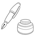 set fountain pen and ink bottle vector image vector image