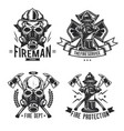 set of firefighter elements emblems labels vector image