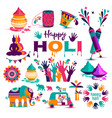 set of holi flat icons in indian style vector image