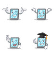 set of tablet character with wink grinning two vector image vector image