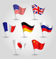 set of waving flags seven great power states vector image