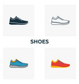 shoes icon set four elements in diferent styles vector image vector image