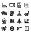 Silhouette Computer Games tools and Icons vector image vector image