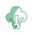 silhouette kawaii cute funny broccoli vegetable vector image vector image