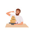 smiling bearded man making a cake young man in vector image vector image