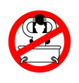 stop girl in bath red prohibition sign of danger vector image