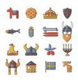 sweden travel icons set cartoon style vector image vector image