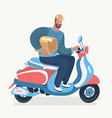 transport man courier is riding motorbike vector image vector image