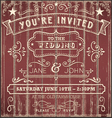 Vintage Country Wedding Invitation vector image vector image