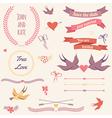 Wedding set with birds hearts arrows ribbons