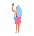 woman making selfie back view vector image vector image