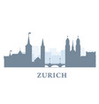 zurich city silhouette switzerland - old town vector image vector image