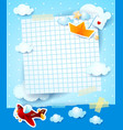 baby shower invitation with airplane and paper vector image