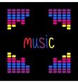 Colurful digital equalizer frame Word Music Flat vector image