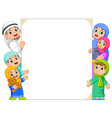 a family and a bais holding white banner vector image vector image