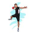 abstract handball player jumping with ball vector image vector image