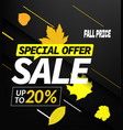 autumn sale special offer up to 20 discount banner vector image vector image