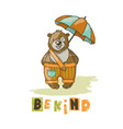 be kind bear cartoon animal hand drawn illu vector image
