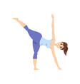 beautiful woman standing in chandrasana yoga pose vector image vector image
