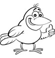 cartoon bird giving thumbs up vector image vector image