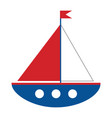 cartoon ship on white background vector image vector image