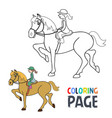 coloring page with woman ridding horse cartoon vector image vector image