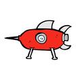 comic cartoon space rocket vector image vector image