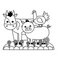 cow pig and chicken animals farm vector image