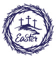 crown thorns and calligraphic text logo easter vector image vector image