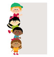 diverse group kids and blank banner vector image vector image