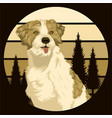 dog outdoor sunset retro vector image vector image