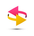 double arrows symbol left and right pink and vector image vector image