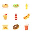 fast food menu icons set cartoon style vector image vector image