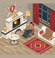 fire place cosiness isometric vector image