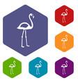 flamingo icons set hexagon vector image vector image