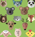 Flat style of different animals vector image