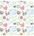 Floral seamless pattern with flowers bird hearts vector image