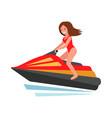 girl on jet ski vector image
