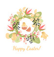 happy easter greeting card with chickens and eggs vector image vector image
