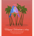 happy valentines day lettering on banner palm vector image vector image