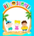 hello summer cute multiracial children template vector image