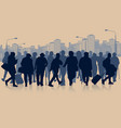 huge crowd people silhouette in city vector image vector image