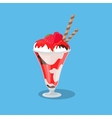 Ice Cream Yogurt in a Glass Isolated vector image