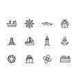 icon set sea ship sailing boat steering vector image vector image