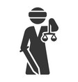 justice goddess lady femida icon on white vector image vector image