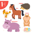 Letter H Cute animals Funny cartoon animals in vector image vector image
