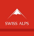 logo of swiss alps on red background vector image vector image