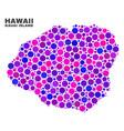 mosaic kauai island map of circle dots vector image vector image
