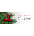 red christmas reindeer ornament in pine tree vector image vector image