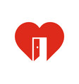red heart sign with open door symbol of vector image